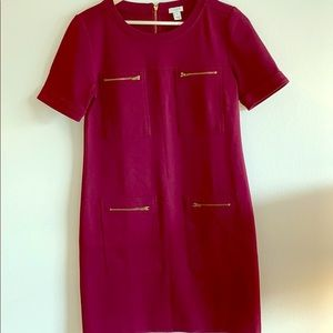 J. Crew Burgundy Ponte Shift Dress with Zippers